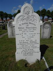 Family headstone of the Tomlinson family showing the grave of James William Tomlinson and commemorating his brother Alfred Tomlinson. Photo taken by Colin Dannatt