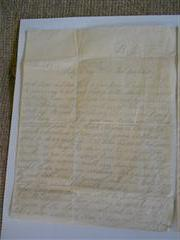 photo shows the first page of Benjamin Williams final letter to his wife, now in possession of the Bassetlaw Museum, Retford, courtesy of the Bassetlaw Museum.