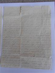 Photo shows the second and final page of a letter from Benjamin Williams to his wife before his death. Now in possession of the Bassetlaw Museum, Retford. Courtesy of the Bassetlaw Museum.