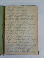 photo shows the first page of the diary kept by Benjamin Williams when he first went to war, now in possession of the Bassetlaw Museum, Retford, courtesy of the Bassetlaw museum