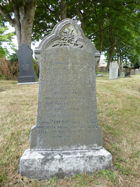 Family headstone in Awsworth St Peter churchyard.  Photograph Rachel Farrand (July 2013).