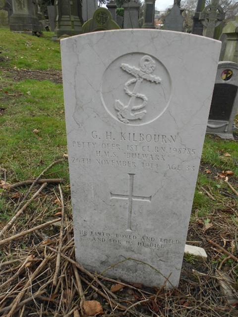 Kilbourn's headstone in Nottingham General Cemetery