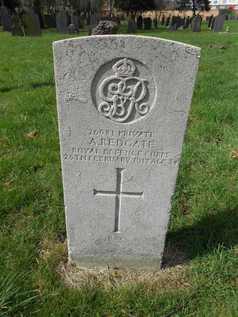 Commonwealth wargrave headstone marking the grave of Albert Redgate situated at the General Cemetery,Nottingham. 
