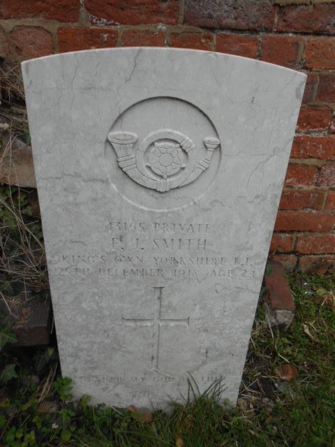 Commonwealth War Grave Commission headstone marking the grave of Edwin John Smith situated in the General Cemetery, Nottingham. Courtesy of Peter Gillings
