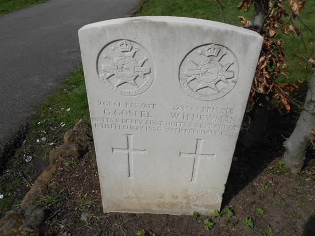 Commonwealth War Graves Commission headstone marking the grave of George Gospel situated in the General Cemetery, Nottingham. Courtesy of Peter Gillings