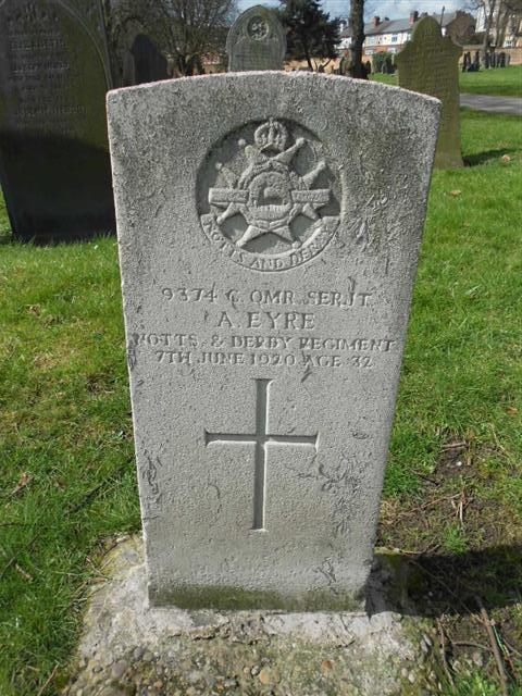 Commonwealth War Graves Commission headstone marking the grave of Arthur Eyre situated at Nottingham General Cemetery.