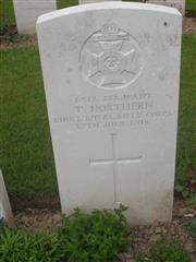 Commonwealth war grave headstone marking the grave at Delville Wood Cemetery, Longueval, Somme, France . Courtesy of Murray Biddle