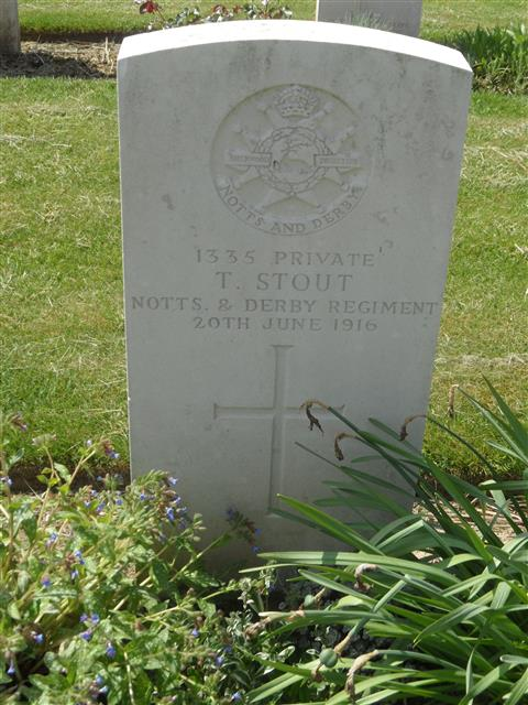 Commonwealth war grave headstone marking the grave at Foncquevillers Military Cemetery, Pas De Calais, France. Courtesy of Murray Biddle