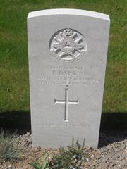 Commonwealth War Graves Commission headstone marking his grave at Philosophe British Cemetery, Mazingarbe, France. Courtesy Murray Biddle