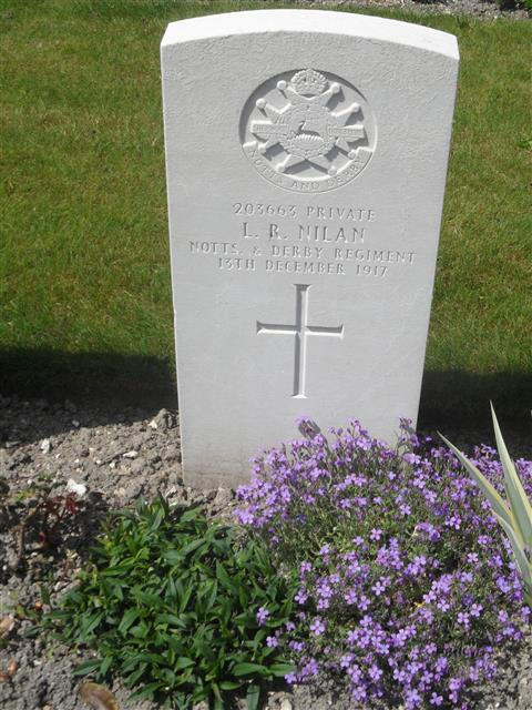 Commonwealth war grave headstone marking his grave at Philosophe British Cemetery, Mazingarbe, France. Courtesy Murray Biddle