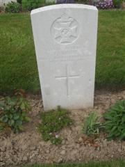 Commonwealth war grave headstone marking his grave at Cabaret-Rouge British Cemetery, Souchez, Pas de Calais, France. Courtesy of Murray Biddle