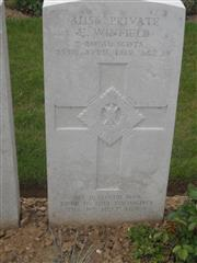 Commonwealth War Grave Commission headstone marking his grave at Duisans British Cemetery, Etrun, Pas de Calais, France. Courtesy of Murray Biddle