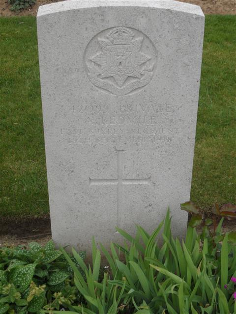 Commonwealth War Graves Commission headstone marking his grave at Peronne Communal Cemetery Extension, Somme, France. Courtesy of Murray Biddle