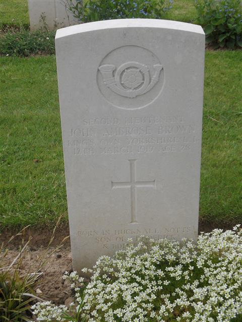 Commonwealth War Grave Commission headstone marking his grave at Carnoy Military Cemetery, Somme, France. Courtesy of Murray Biddle