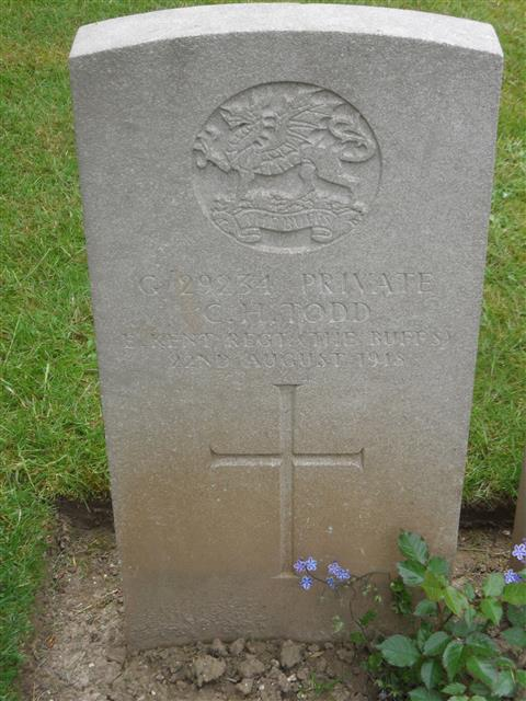 Commonwealth war grave headstone marking his grave at Becourt Military Cemetery,Becordel-Becourt, , Somme, France. Courtesy of Murray Biddle