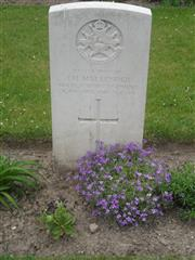 Commonwealth war grave headstone marking his grave at Albert Communal Cemetery Extension, Somme France. Courtesy of Murray Biddle