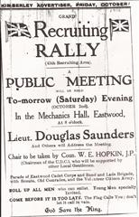 Newspaper advert for Eastwood Recruiting Meeting in 1915.