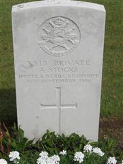 Commonwealth war grave headstone marking his grave at Bellacourt Military Cemetery, Riviere , Pas de Calais, France. Courtesy of Murray Biddle