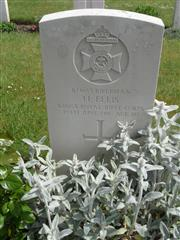 Commonwealth War Graves Commission headstone marking his grave at Berles-Au-Bois Churchyard Extension , Pas de Calais, France. Courtesy of Murray Biddle