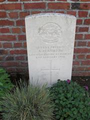 Commonwealth War Graves Commission headstone marking Mirfin's grave at Berles-Au-Bois Churchyard Extension  Pas de Calais, France. Courtesy of Murray Biddle