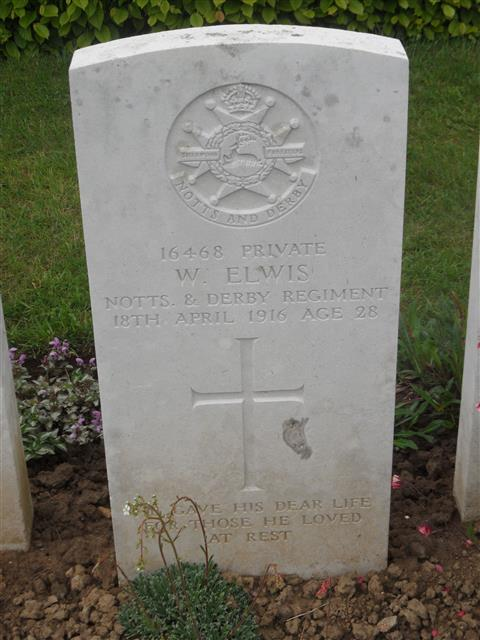 Commonwealth War Graves Commission headstone marking his grave at Warloy-Baillon  Communal Cemetery Extension, Somme, France. Courtesy of Murray Biddle
