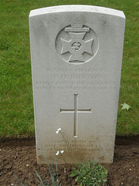 Commonwealth War Graves Commission headstone marking his grave at Contay British Cemetery, Contay, Somme, France. Courtesy of Murray Biddle