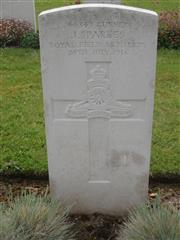 Commonwealth War Graves Commission headstone marking his grave at Ribemont Communal Cemetery Extension Somme, France. Courtesy of Murray Biddle