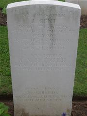 Commonwealth War Graves Commission headstone marking his grave at Heilly Station cemetery, Mericourt-L'Abbe Somme, France. Courtesy of Murray Biddle