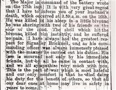 Letter from Bricknell's battery commander.