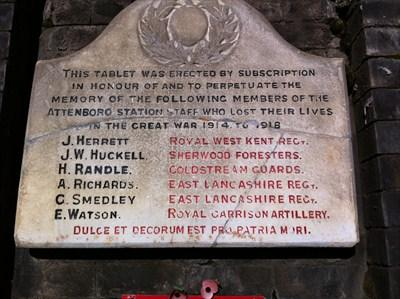The monument commemorating  employees of Attenborough Station who fell during The Great War.