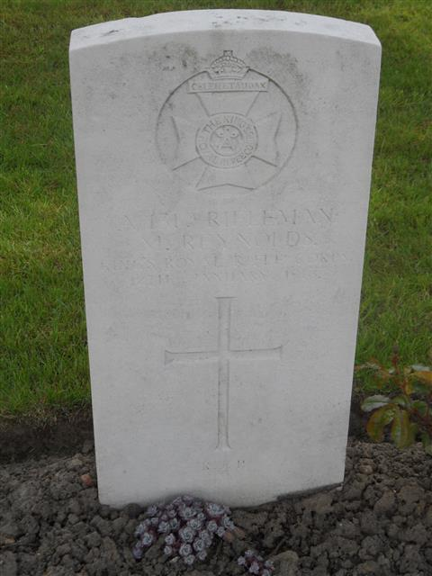 Commonwealth war grave headstone marking his grave at Poperinghe New Military Cemetery, Belgium. Courtesy of Murray Biddle