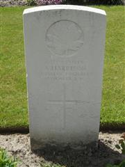 Commonwealth War Graves Commission headstone marking Harrison's grave at Dickebusch New Military Cemetery Belgium. Courtesy of Murray Biddle