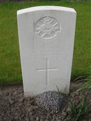 Commonwealth war grave headstone marking his grave at Menin Road South Military  Cemetery Belgium. Courtesy of Murray Biddle