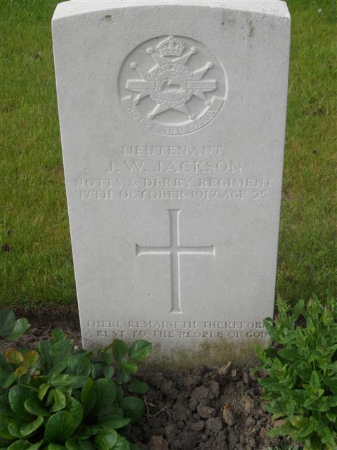 Commonwealth War Graves Commission headstone marking Jackson's grave at Menin Road South Military  Cemetery Belgium. Courtesy of Murray Biddle