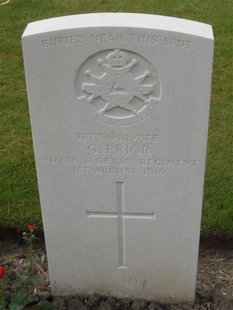 Commonwealth war grave headstone marking his grave at Sanctuary Wood Cemetery Belgium. Courtesy of Murray Biddle