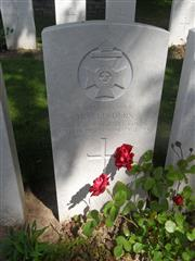 Commonwealth war grave headstone marking his grave at Serre Road Cemetery No 1   
