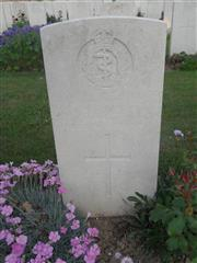 Commonwealth War Graves Commission headstone marking his grave at Bronfay Farm Military Cemetery , Bray-Sur-Somme  