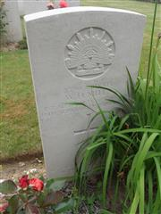 Commonwealth war grave headstone marking his grave at La Chapelette British and Indian Cemetery, Peronne, Somme Courtesy of Murray Biddle