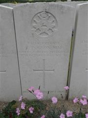 Commonwealth war grave headstone marking his grave at Tincourt New British Cemetery, Somme Courtesy of Murray Biddle