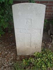 Commonwealth War Graves Commission headstone marking Johnson's grave at Red Cross Corner Cemetery, Beugny, Pas De Calais. 