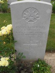 Commonwealth war grave headstone marking his grave at Fifteen Ravine British Cemetery, Villers-Plouich .  Courtesy of Murray Biddle