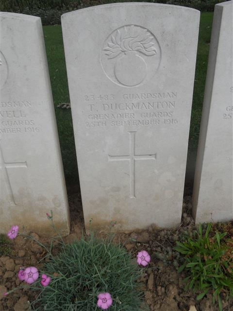 Commonwealth War Graves Commission headstone at Guards Cemetery Lesboeufs  Somme 