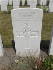 Commonwealth War Graves Commission headstone at Potijze Burial Ground Cemetery Belgium Courtesy of Murray Biddle