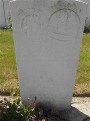 Commonwealth war grave headstone marking his grave at Medingham Military Cemetery,Belgium Courtesy of Murray Biddle