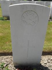 Commonwealth War Graves Commission headstone at Dozingham Military Cemetery, Belgium. Courtesy of Murray Biddle