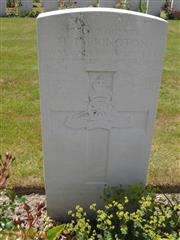 Commonwealth War Graves Commission headstone at Dozingham Military Cemetery, Belgium Courtesy of Murray Biddle