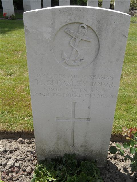 Commonwealth War Graves Commission headstone at Dozingham Military Cemetery . Courtesy of Murray Biddle