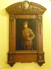 Photograph of memorial to 'Monty' Hind now in Bromley House Library, Nottingham, and formerly in the endowed ward of the military hospital at Nottinghamshire County Council Cricket ground, West Bridgford.  Photograph Rachel Farrand (June 2016)
