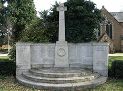 The war memorial at Hartley Wintney showing the names of the Charter brothers 