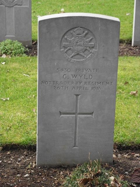 The Commonwealth War Graves Commission headstone marking the grave of George Wyld at Grangegorman Military Cemetery 